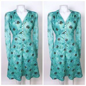 Vintage LS Spring Button Front Floral Dress
